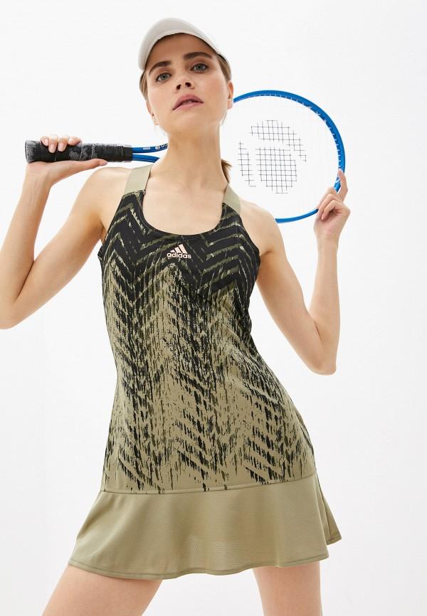 женское спортивные платье adidas, хаки