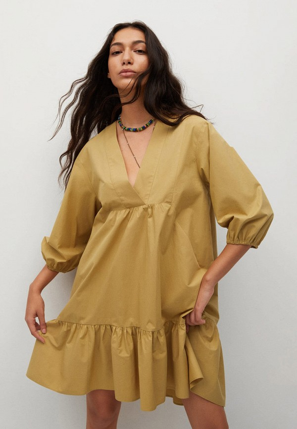 Платье Mango желтого цвета