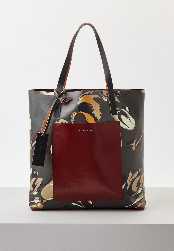 женская сумка-шоперы marni, хаки