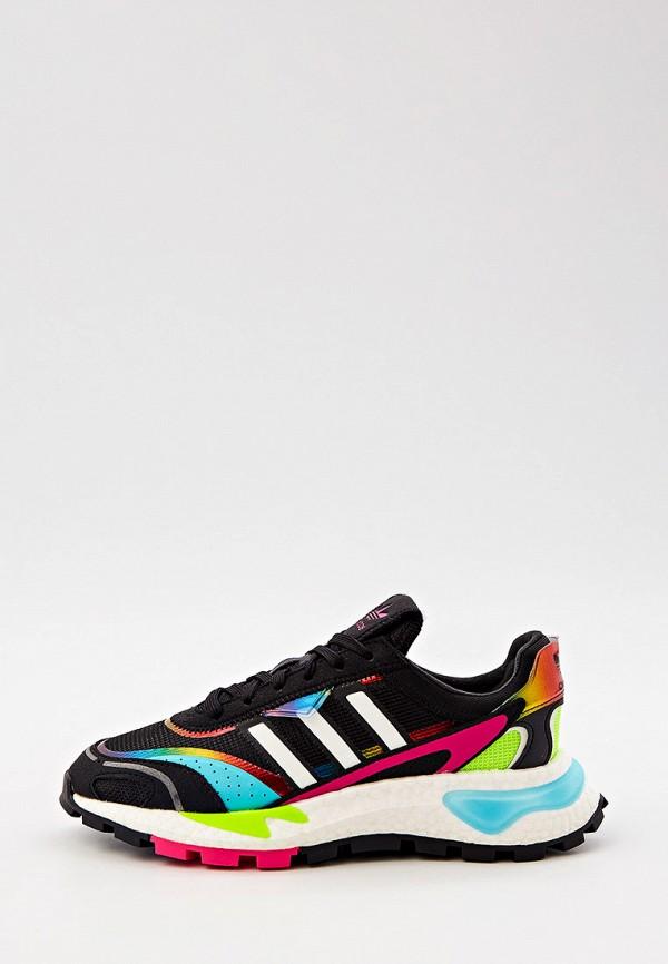женские низкие кроссовки adidas, черные