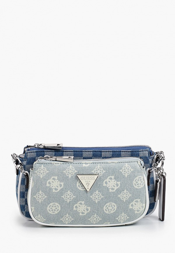 женский кошелёк через плечо guess, голубой