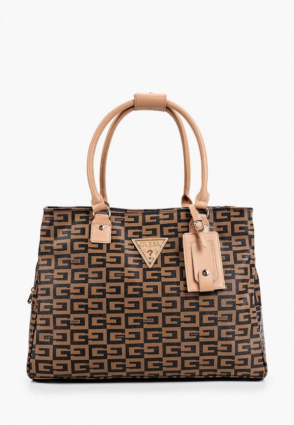женская дорожные сумка guess, коричневая