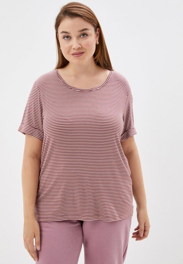 женская футболка only carmakoma, коричневая