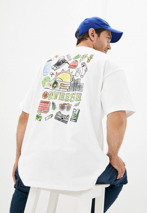 мужская футболка с коротким рукавом converse, белая