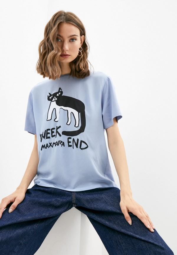 женская футболка weekend by max mara, голубая