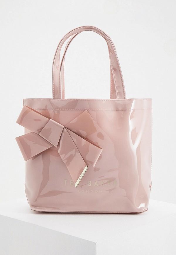 женская сумка с ручками ted baker london, розовая