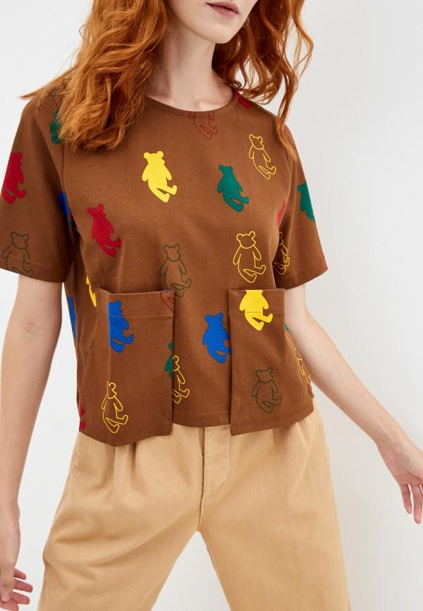 женская футболка united colors of benetton, коричневая