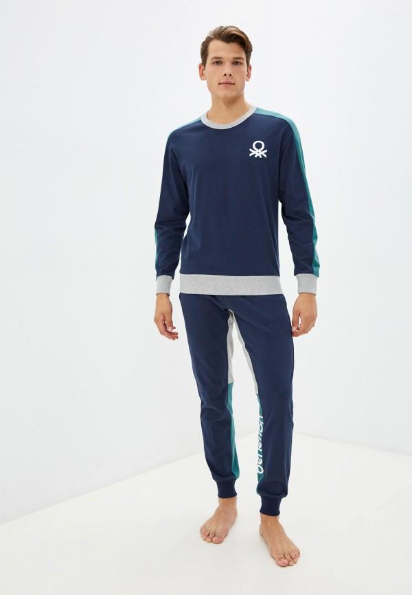 Пижама United Colors of Benetton синего цвета