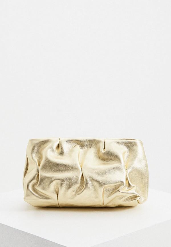 женская сумка с ручками coccinelle, золотая