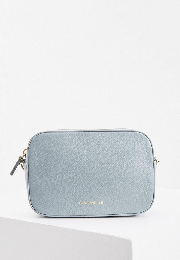 женская сумка через плечо coccinelle, голубая