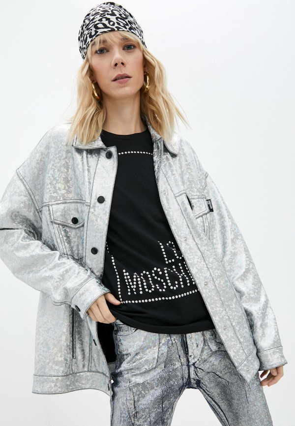 женская легкие куртка love moschino, серебряная