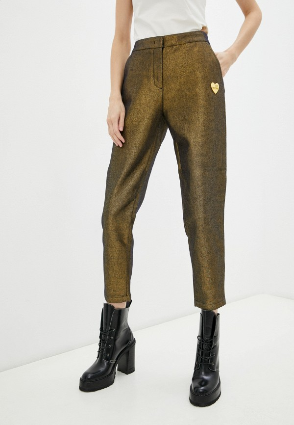 женские повседневные брюки love moschino, золотые