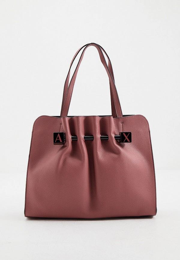 женская сумка с ручками armani exchange, розовая