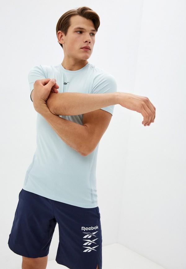 Футболка спортивная Reebok голубого цвета