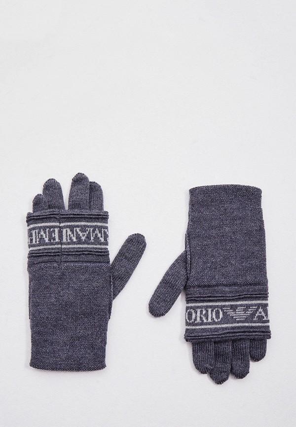 женские текстильные перчатки emporio armani, серые