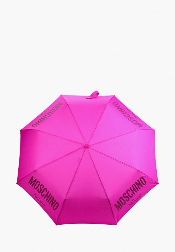 женский складные зонт moschino, розовый