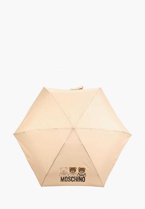 женский складные зонт moschino, бежевый