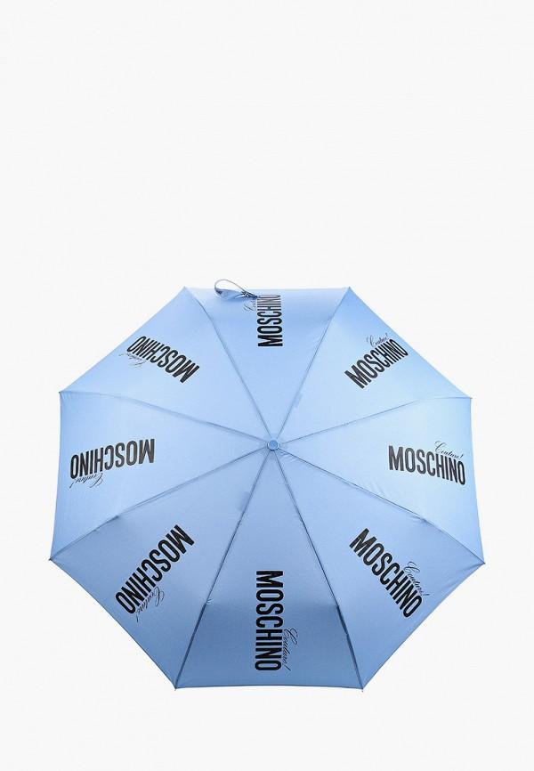 женский складные зонт moschino, голубой
