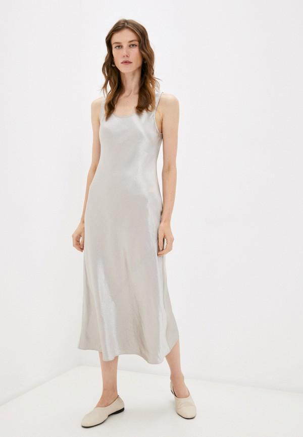 женское платье max mara leisure, серебряное