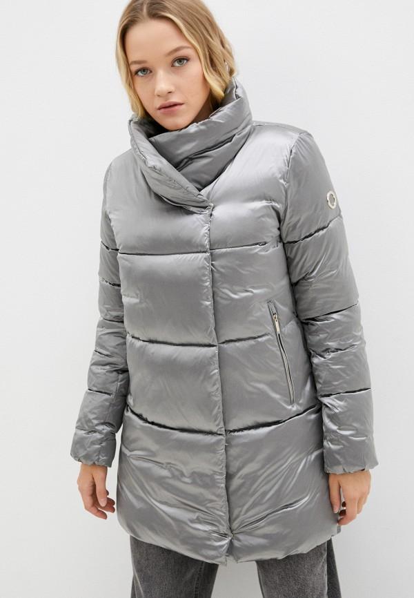 женская утепленные куртка madzerini, серебряная