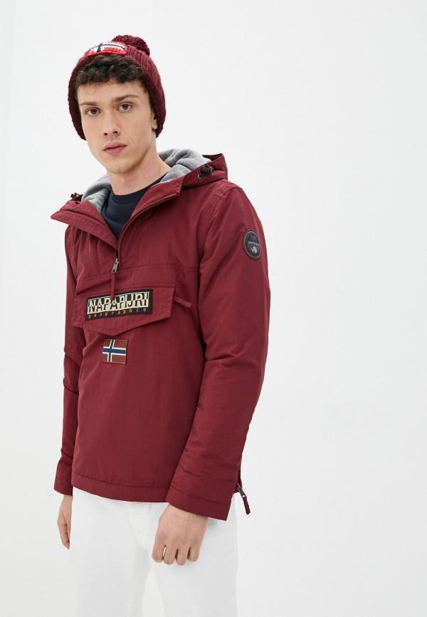мужская утепленные куртка napapijri, бордовая