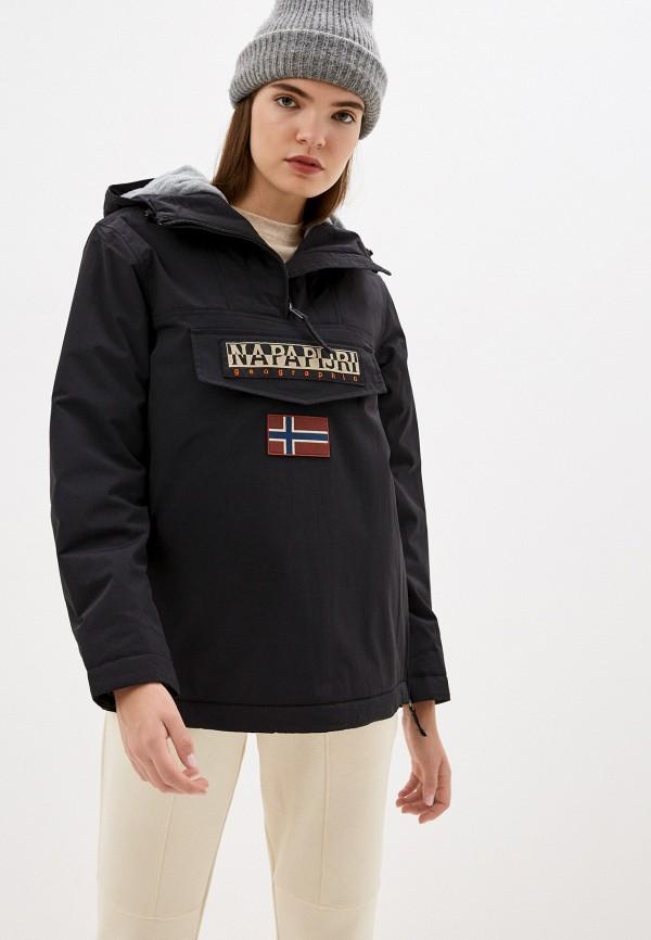женская утепленные куртка napapijri, черная