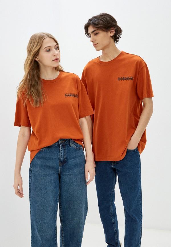 женская футболка с коротким рукавом napapijri, коричневая