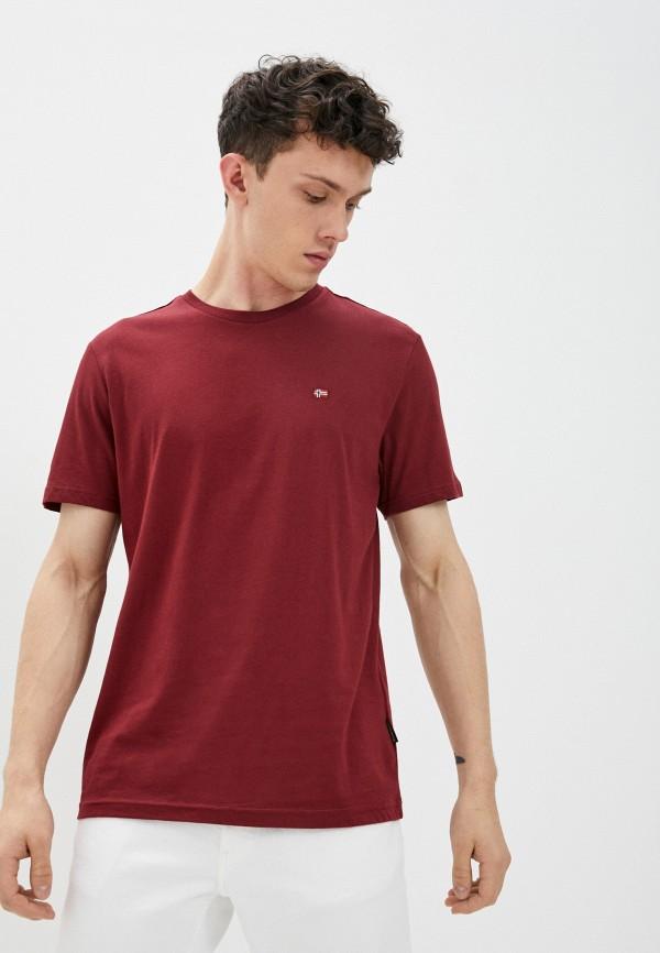 мужская футболка с коротким рукавом napapijri, бордовая
