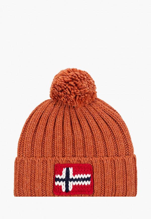 мужская шапка napapijri, коричневая
