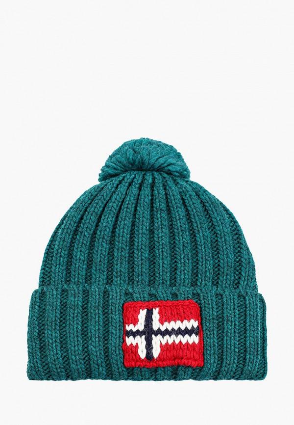 мужская шапка napapijri, зеленая