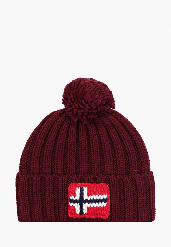 мужская шапка napapijri, бордовая