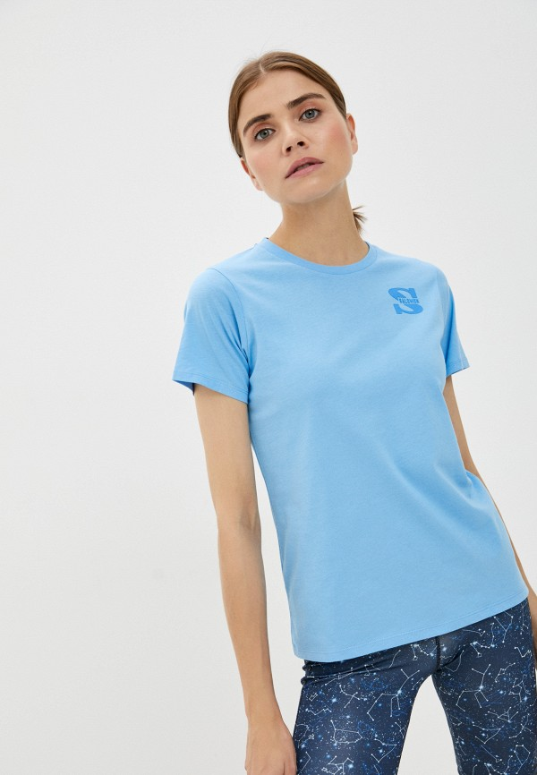 женская спортивные футболка salomon, голубая