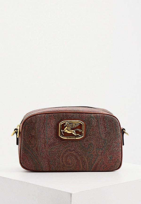 женская сумка через плечо etro, коричневая