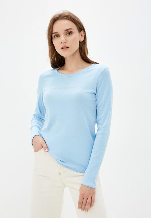женский лонгслив united colors of benetton, голубой