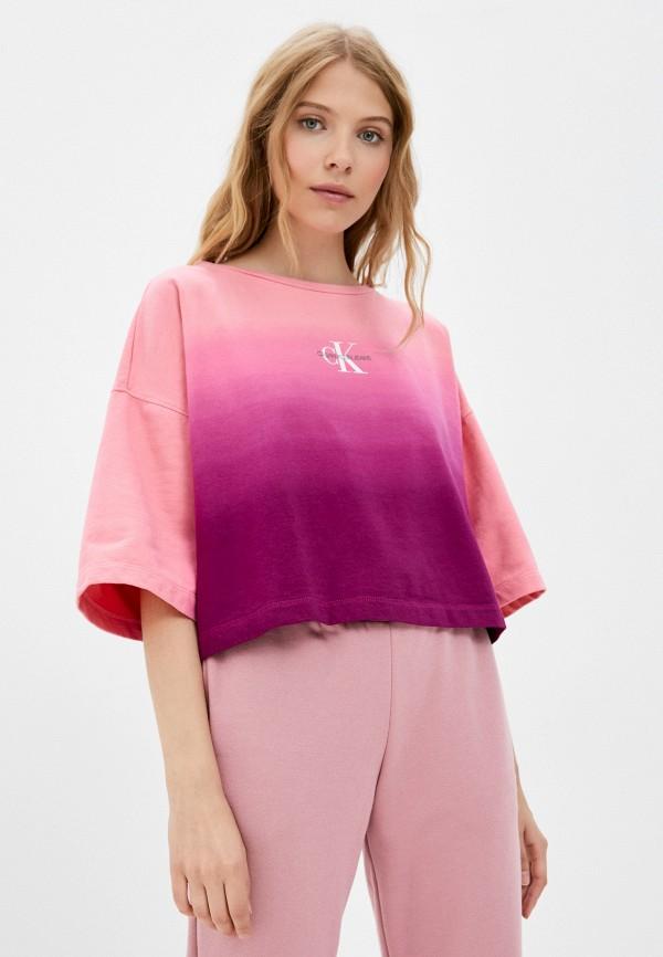 женская футболка calvin klein, серебряная