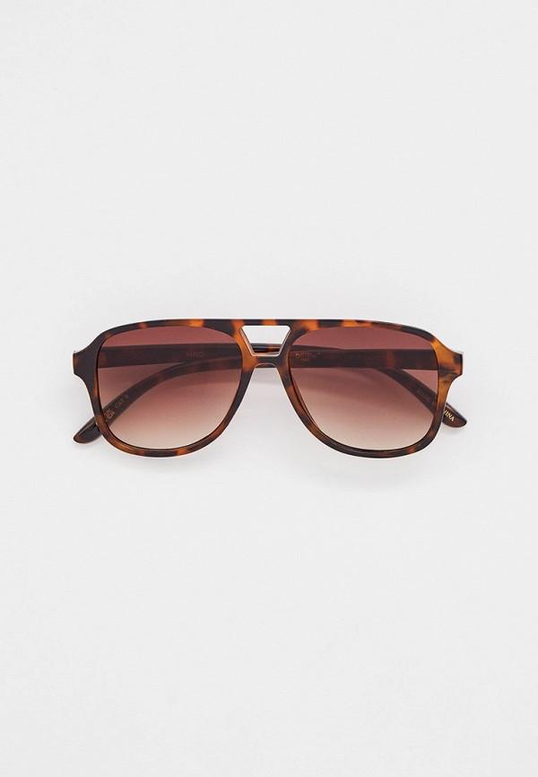 женские авиаторы солнцезащитные очки mango, коричневые