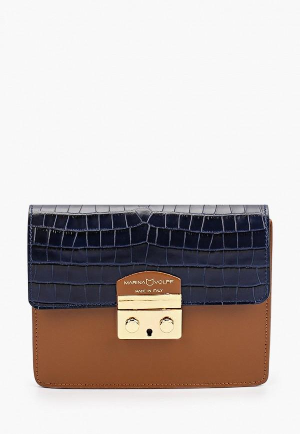 женская сумка через плечо marina volpe, коричневая