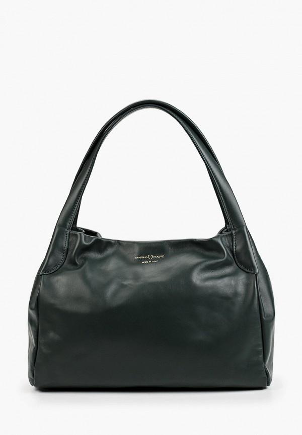 женская сумка с ручками marina volpe, зеленая