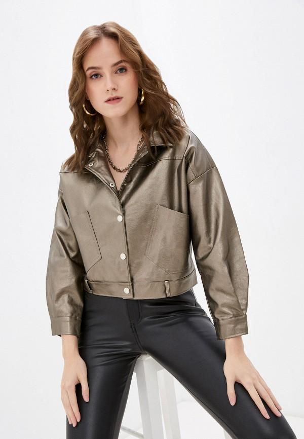 женская кожаные куртка softy, золотая