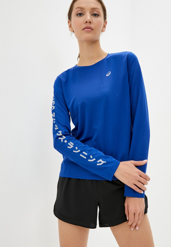 женский лонгслив asics, синий