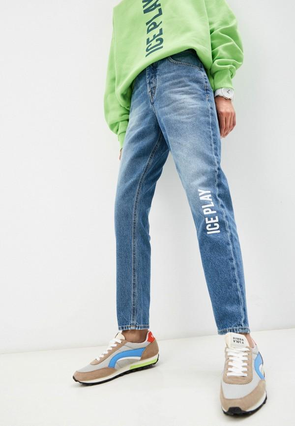 женские джинсы бойфренд ice play, синие