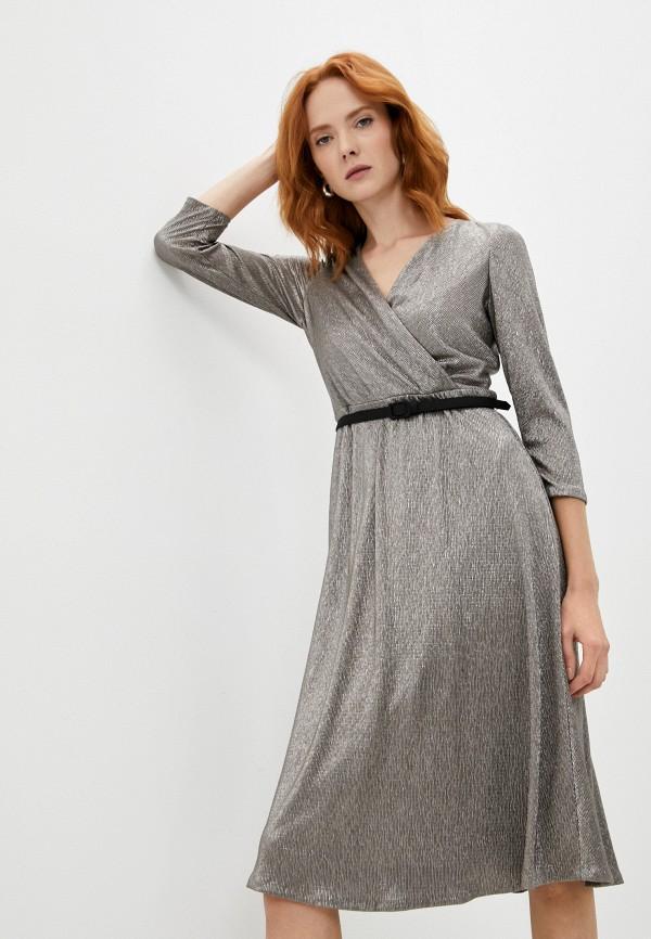 женское платье с запахом lauren ralph lauren, серебряное