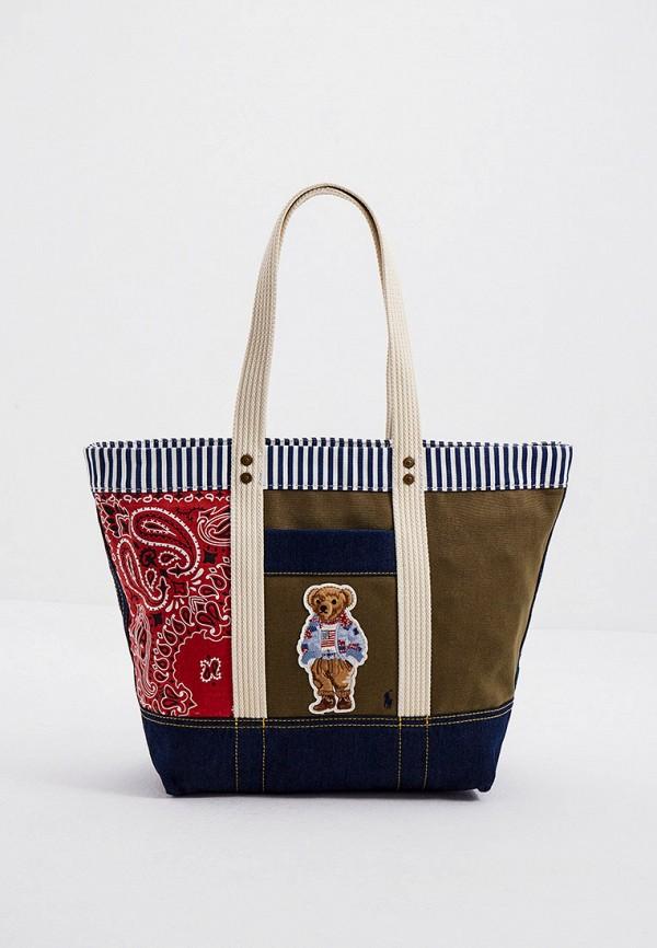 женская сумка-шоперы polo ralph lauren, хаки
