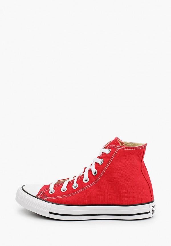 женские высокие кеды converse, красные
