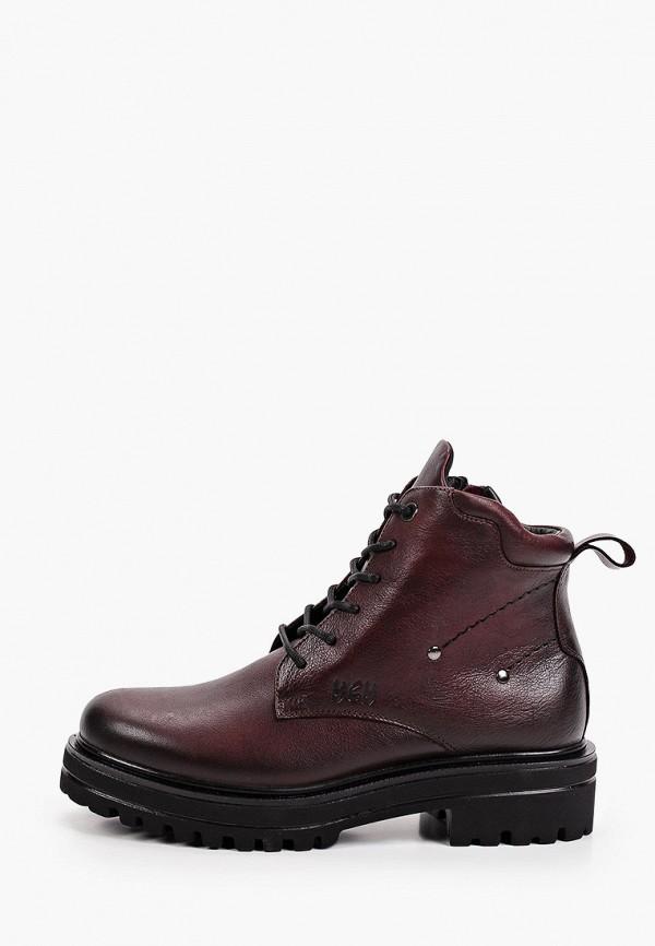 женские высокие ботинки mcm, бордовые