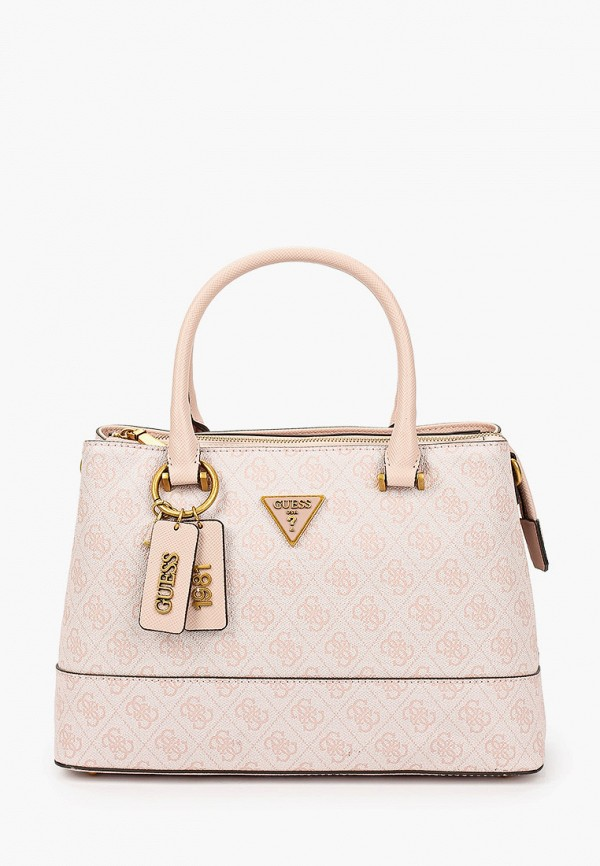 женская сумка с ручками guess, розовая
