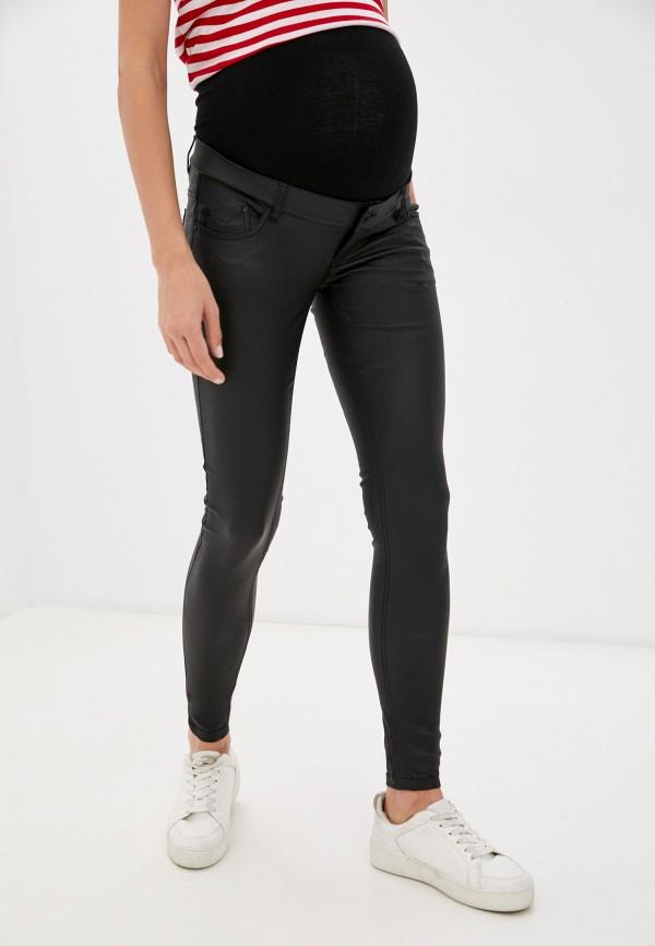 женские кожаные брюки mamalicious, черные