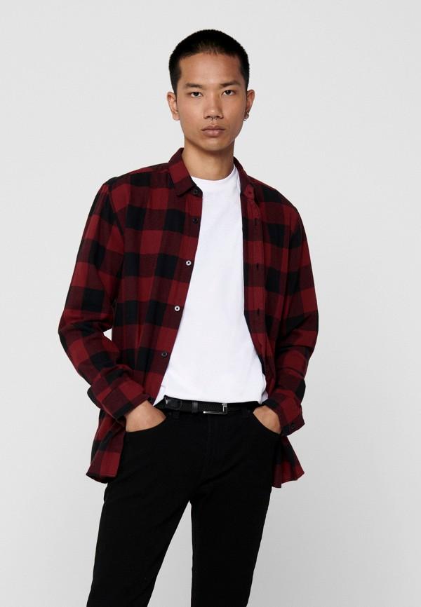 мужская рубашка с длинным рукавом only & sons, бордовая