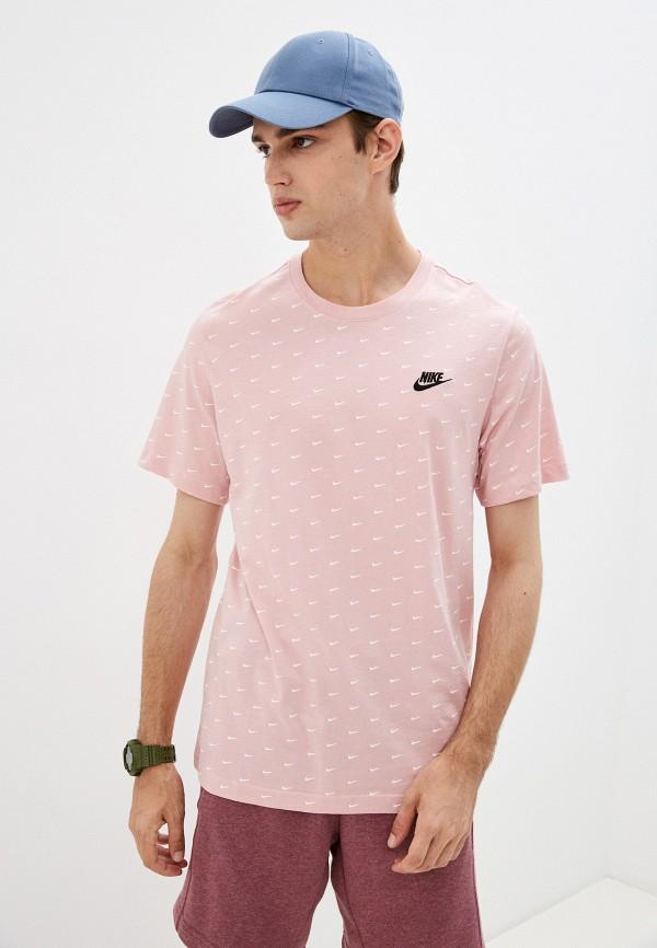 мужская футболка с коротким рукавом nike, розовая