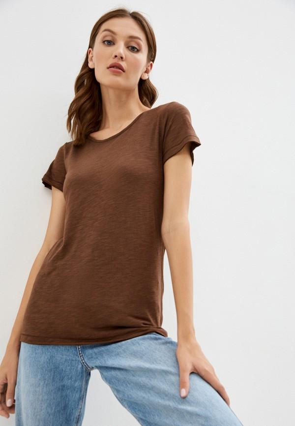 женская футболка sisley, коричневая